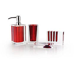 Shop Rona Red And Clear Bath Accessory 4 Piece Set Overstock 4392606