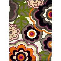 """Safavieh Handmade Flower Power Ivory/ Multi N. Z. Wool Rug - 3'-6"""" X 5'-6"""""""
