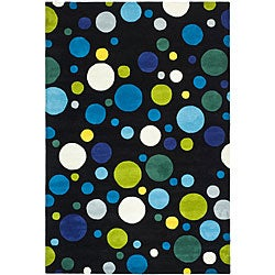 Safavieh Handmade Soho Bubblegum Black/ Multi N. Z. Wool Rug (3'6 x 5'6)