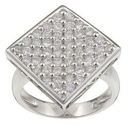 Kabella 18k White Gold 1 2/5ct TDW Diamond Square Cluster Ring (I, I3) (Size 7.25)