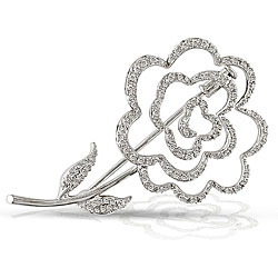 14k White Gold 1/2ct TDW Diamond Flower Brooch (H-I, SI1-SI2)
