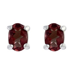 Journee Sterling Silver Created Garnet 8x6-mm Oval Stud Earrings