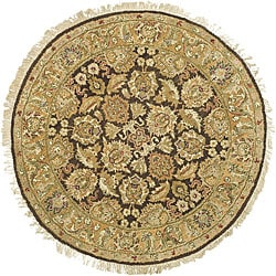 Oushak Hand-knotted Treasures Dark Brown/ Gold Rug (4' Round)