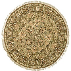 Oushak Hand-knotted Treasures Light Green/ Gold Wool Rug (4' Round)