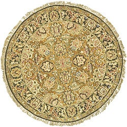 Oushak Hand-knotted Treasures Handspun Gold/ Green Wool Rug (4' Round)