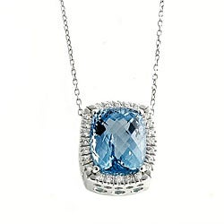 Beverly Hills Charm 14k Gold Blue Topaz and 2/5ct TDW Diamond Necklace