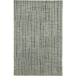 Hand-knotted Blue Royal Abstract Design Wool Rug (8' x 11')