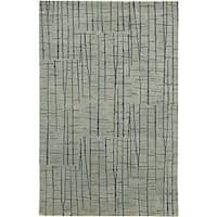 Hand-knotted Blue Royal Abstract Design Wool Area Rug (8' x 11')