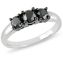 Miadora 10k White Gold 1ct TDW Black Diamond 3-stone Ring