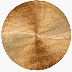 Hand-tufted Wool Gold Contemporary Abstract Swirl Rug (6' Round)