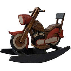 Handmade kid 39 s motorcycle rocking horse thailand free for Scooter rocking horse