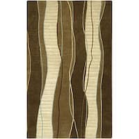 Hand-knotted Contemporary Brown/White Stripe Karur New Zealand Wool Area Rug - 5' x 8'