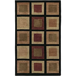 Hand-knotted Contemporary Brown/Black Geometric Bodo New Zealand Wool Area Rug (5' x 8') - Thumbnail 0