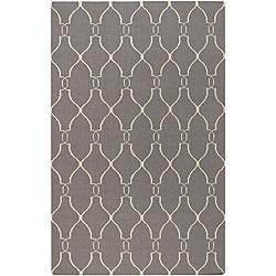 Hand-woven Grey Wool Roanoke Rug (5' x 8')