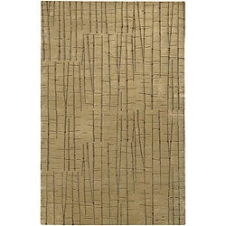 Hand-knotted Beige Royal Abstract Design Wool Area Rug - 5' x 8' - Thumbnail 0
