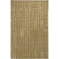 Hand-knotted Beige Royal Abstract Design Wool Area Rug - 5' x 8'