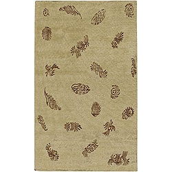 Hand-knotted Legacy Beige New Zealand Wool Area Rug (5' x 8') - 5' x 8' - Thumbnail 0
