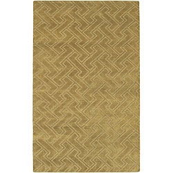 Hand-knotted Livno Gold Basketweave Pattern Wool Rug (8' x 11')