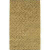 Hand-knotted Livno Gold Basketweave Pattern Wool Area Rug