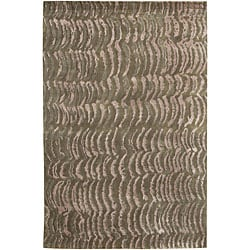 Hand-knotted Royal Green NZ Abstract Design Wool Area Rug (8' x 11') - Thumbnail 0