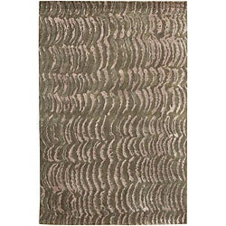 Hand-knotted Royal Green NZ Abstract Design Wool Area Rug - 8' X 11' - Thumbnail 0