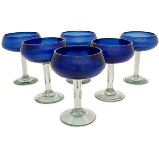 Handmade Set of 6 'Deep Blue' Margarita Glasses (Mexico)