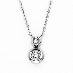 14k White Gold Bezel-set Diamond Necklace (H-I, I1)