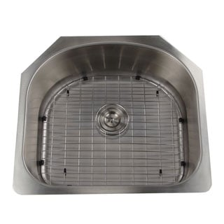 Single D-shape Bowl Premium 16-gauge Kitchen Sink with Grid and Drain