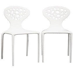 Contemporary Accent Chairs White (Set of 2)