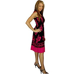 1 World Sarongs Women's Hibiscus Design Black/ Pink Tube Dress (Indonesia)