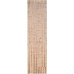 Hand-knotted Beige Abstract Design Wool Rug (2 '6 x 10')