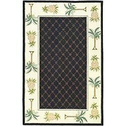 Safavieh Hand-hooked Palm Black/ Ivory Wool Rug (6' x 9')