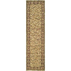 Treasures Hand-knotted Wool Dark Brown/ Gold Runner (2'6 x 12')