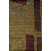 Hand-knotted Brown Contemporary Ardara Wool Abstract Area Rug (2'6 x 10)