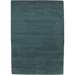 Hand-knotted Solid Blue Casual Karur Semi-worsted Wool Rug (8' x 11')