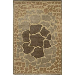 Hand-knotted Brown Contemporary Karur Wool Abstract Rug (2'6 x 10')
