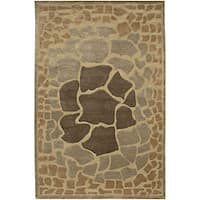 Hand-knotted Brown Contemporary Karur Wool Abstract Area Rug - 2'6 x 10'