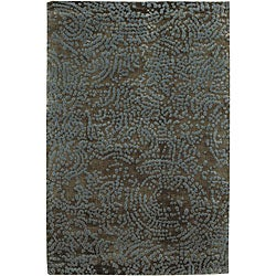 Hand-knotted Abstract Design Wool Area Rug - 2 '6 x 10' - Thumbnail 0