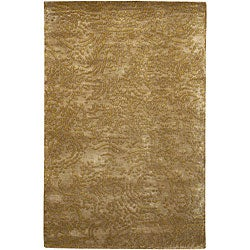 Hand-knotted Gold Abstract Design Wool Rug (2 '6 x 10')