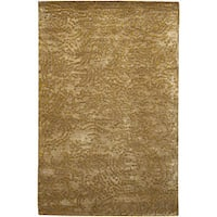 Hand-knotted Gold Abstract Design Wool Area Rug - 2 '6 x 10'