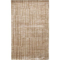 Hand-knotted Beige Abstract Design Wool Rug (4' x 6')