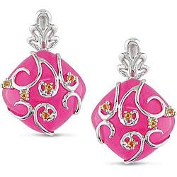 Sterling Silver Pink Jade and Citrine Earrings