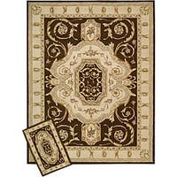 Nourison Hand-tufted Brown Floral Wool Rug (1'9 x 2'9)