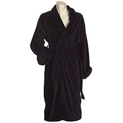 Men's Terrycloth Navy Bath Robe - Thumbnail 0