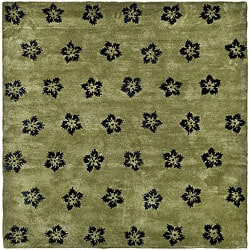 Safavieh Handmade Soho Leaves Sage New Zealand Wool Rug - 8' x 8' Square - Thumbnail 0