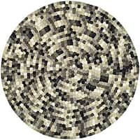 Safavieh Handmade Soho Mosaic Modern Abstract Black Wool Rug - 6' x 6' Round