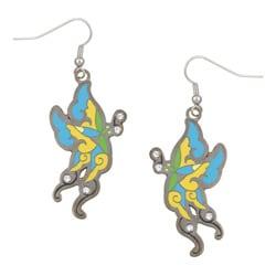Ed Hardy Gunmetal Cubic Zirconia Butterfly Dangling Earrings