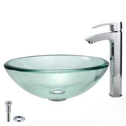 KRAUS 19 mm Thick Glass Vessel Sink with Visio Faucet in Chrome