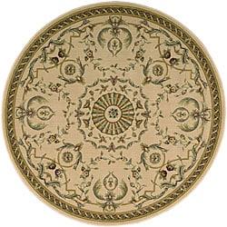 Nourison Arcadia Beige Floral Rug (7'5 x 7'5) Round