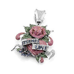 Ed Hardy 14k Gold 7 1/2ct TDW Diamond/ Ruby/ Sapphire Pendant
